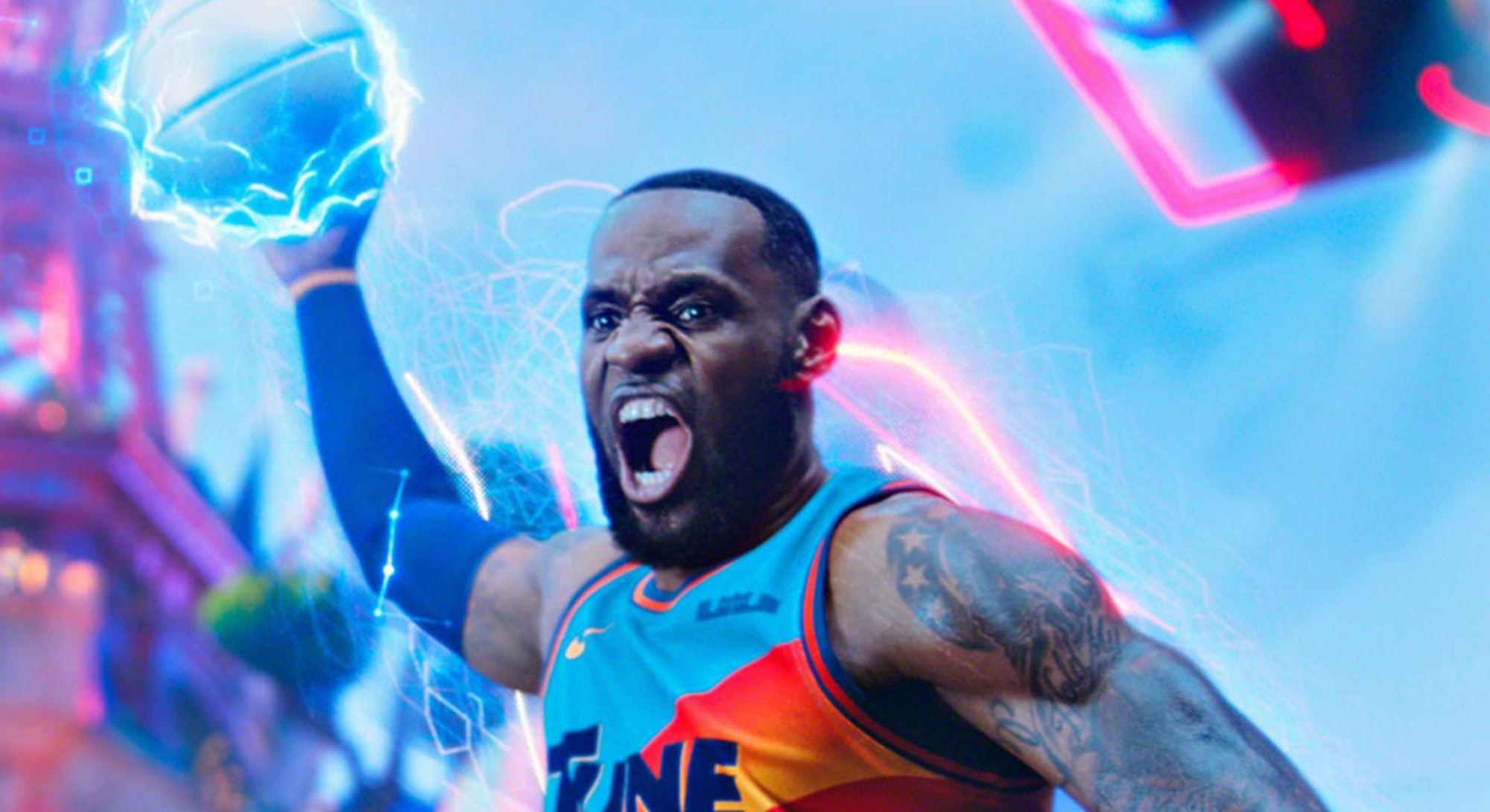 lebron james dunking basketball in space jam a new legacy