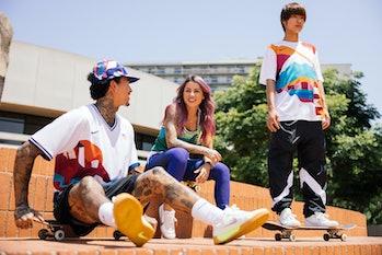 Nike SB Riders Nyjah Huston, Leticia Bufoni, and Yuto Horigome wear the Nike SB Federation Kits