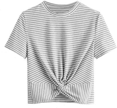 MakeMeChic Twist Front T-Shirt