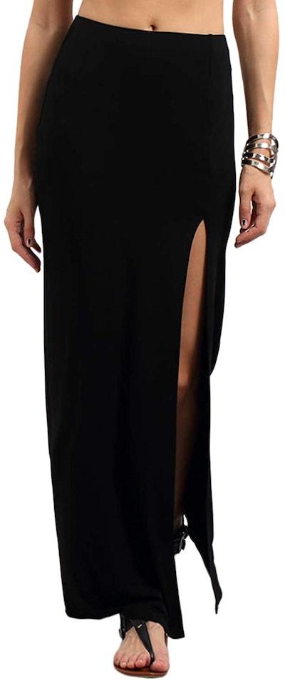 Verdusa High Waist Side Split Maxi Skirt