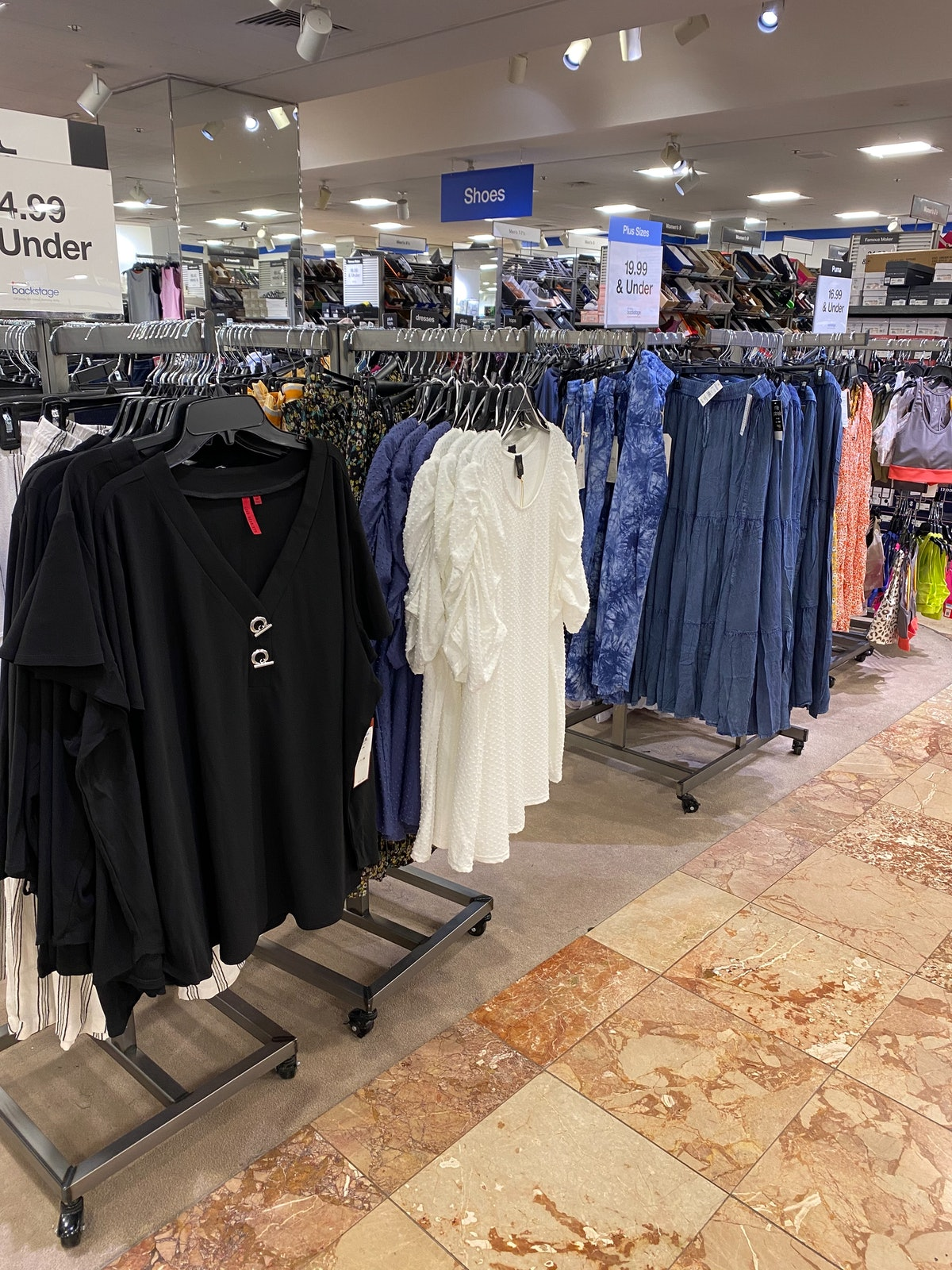 Plus-size clothing in Macy's backstage at Macy's