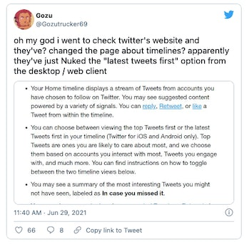 Twitter appears to be removing the option to sort tweets by newest first.