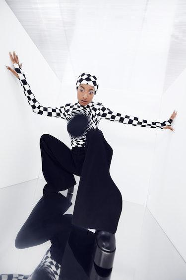 Willow Smith for NYLON wearing black and white checkered Annakiki clothing.