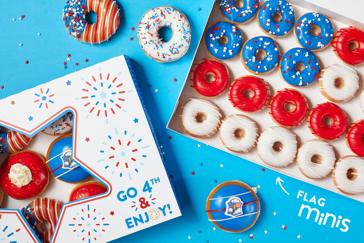 Krispy Kreme's Fourth of July 2021 doughnuts and deal include a BOGO offer.