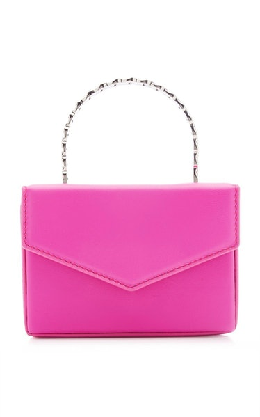 Super Amini Pernille Crystal-Trimmed Leather Top Handle Bag