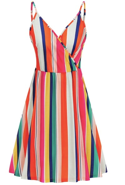 STYLEWORD V Neck Spaghetti Strap Dress