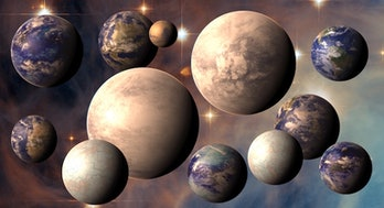 a collage of simulated planets