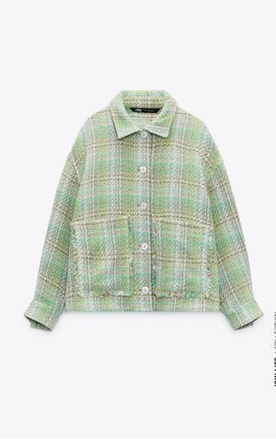 Textured Plaid Overshirt