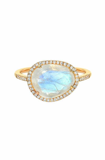 Diamond Moonstone Ring