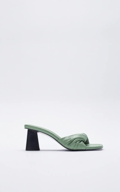 Knotted Heeled Leather Sandals