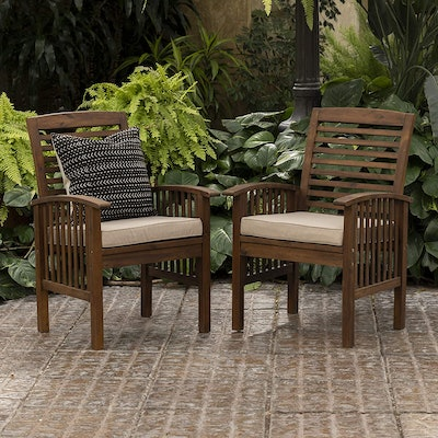 Walker Edison Rendezvous Modern Acacia Wood Slat Back Outdoor Dining Chairs (Set Of 2)