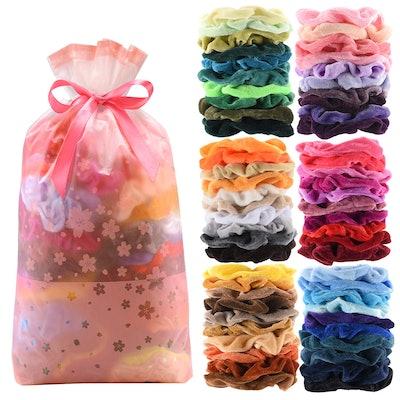 Premium Velvet Hair Scrunchies (60-Pack)