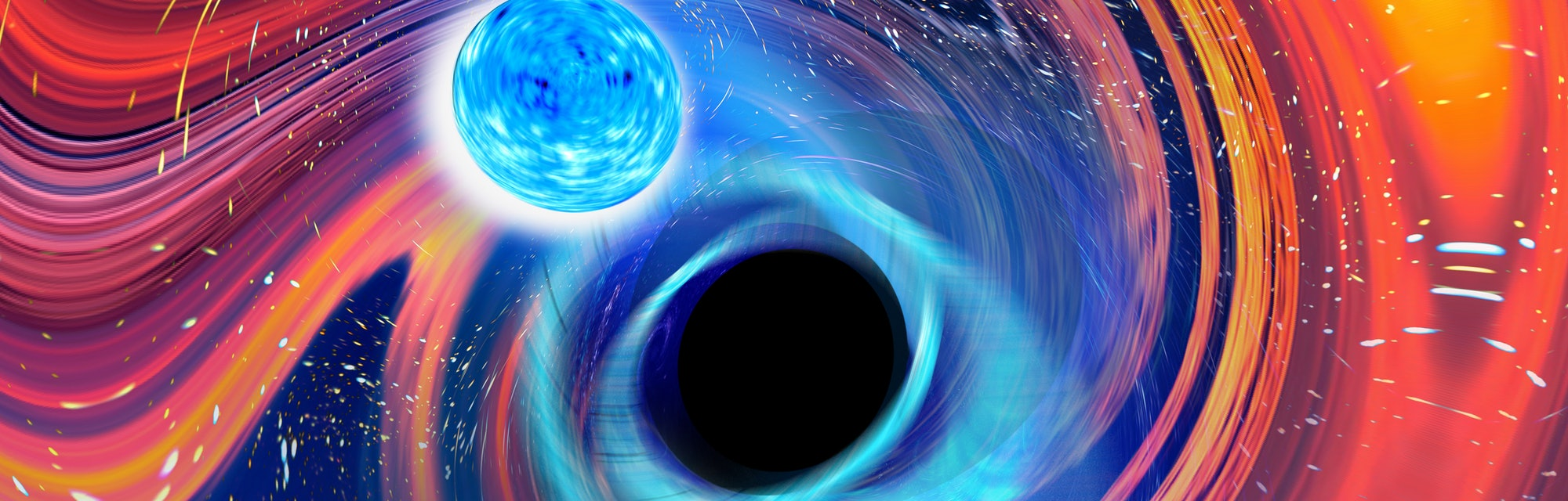An artist's rendering of a blue neutron star and a black hole on a swirled rainbow background.