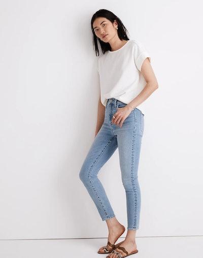 "11"" High-Rise Skinny Crop Jeans in Webb Wash"