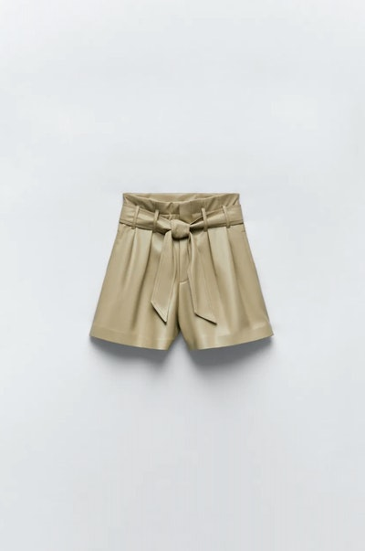 Faux Leather Shorts In Light Green