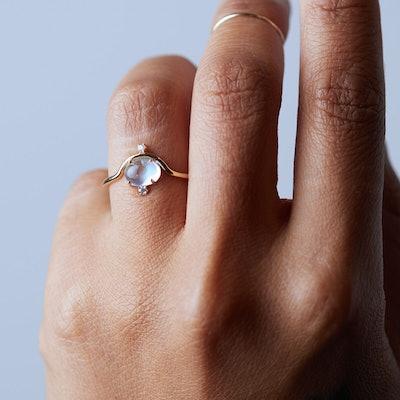 Nestled Moonstone Diamond Ring
