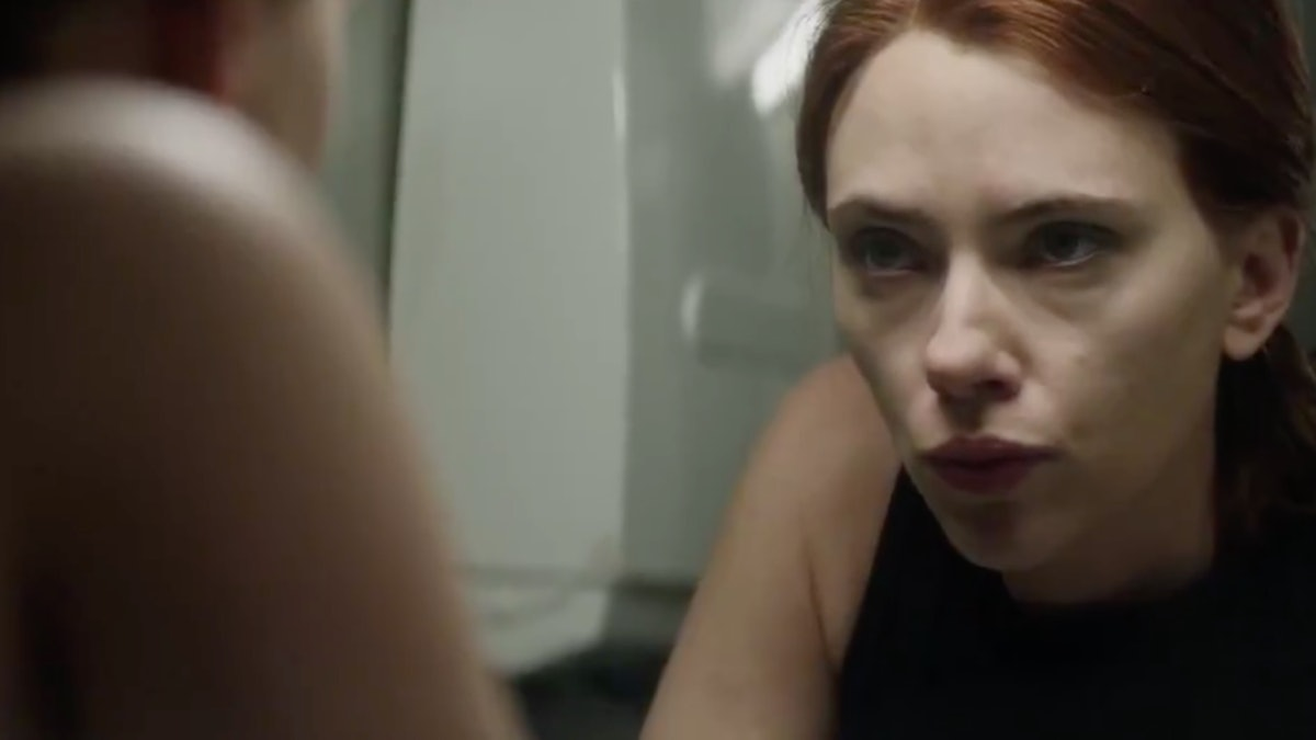 Scarlett Johansson as Black Widow preparing to go on the run in Black Widow