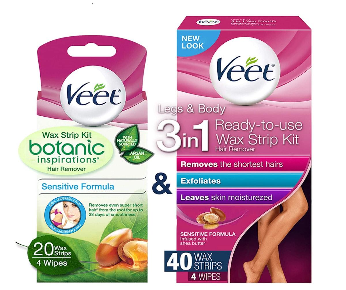 Veet Leg & Body Wax Strip Kit (40-Count) & Veet Botanic Inspirations Sensitive Formula Wax Strip Kit...