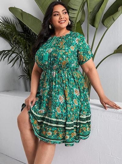 Romwe Plus Size Boho Beach Dress