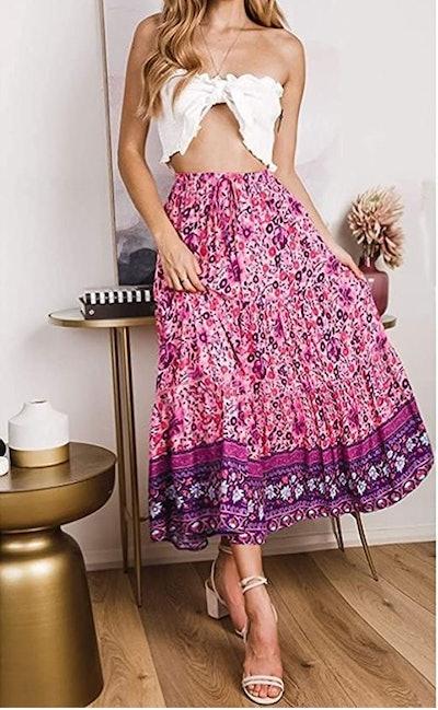 ZESICA Bohemian Floral A Line Maxi Skirt