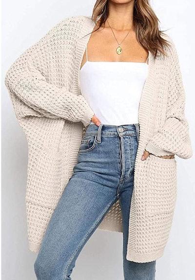 YIBOCK Chunky Cable Knit Cardigan