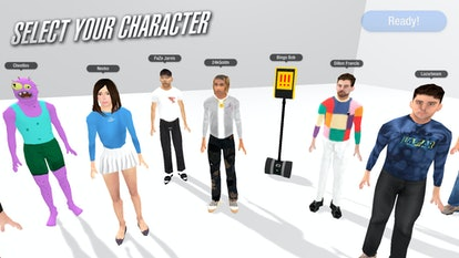 The character selection in Chair Simulator, which includes 24kGoldn, Dillon Francis, and Neeko. Video games. Gaming. Steam. PC gaming. MSCHF.