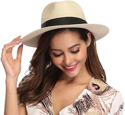 Lanzom Wide Brim Straw Beach Hat