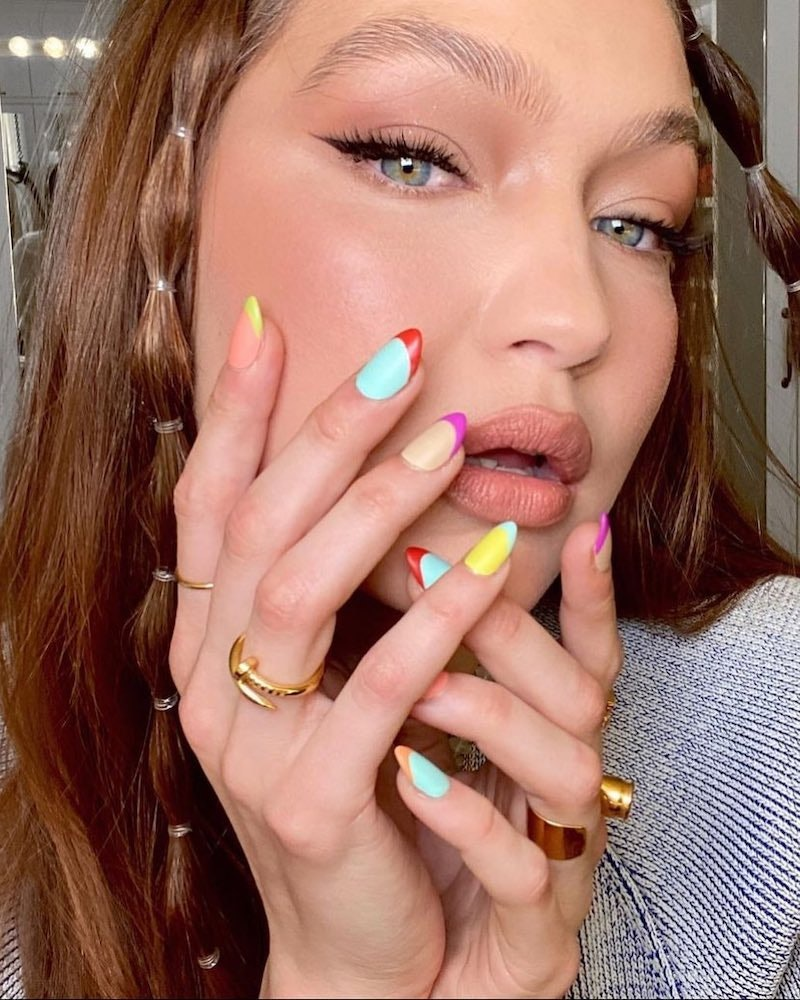 Gigi Hadid with colorful French manicure on her birthday