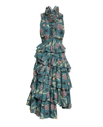 Aurore Floral Ruffle Cotton Dress