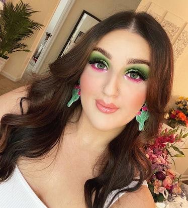 TikTok makeup artist Mikayla Nogueria in vibrant, watermelon-inspired makeup.
