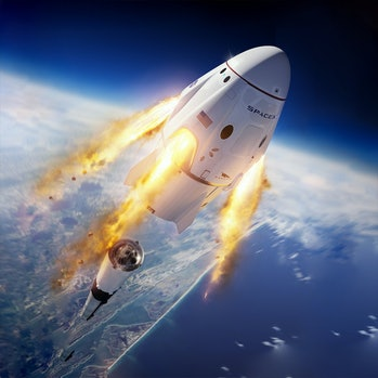 An artist's impression of the SpaceX Crew Dragon capsule that will support these missions.