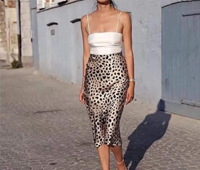 Soowalaoo Leopard Print Satin Skirt