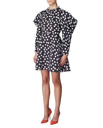 Polka Dot Puff-Sleeve Mini Dress