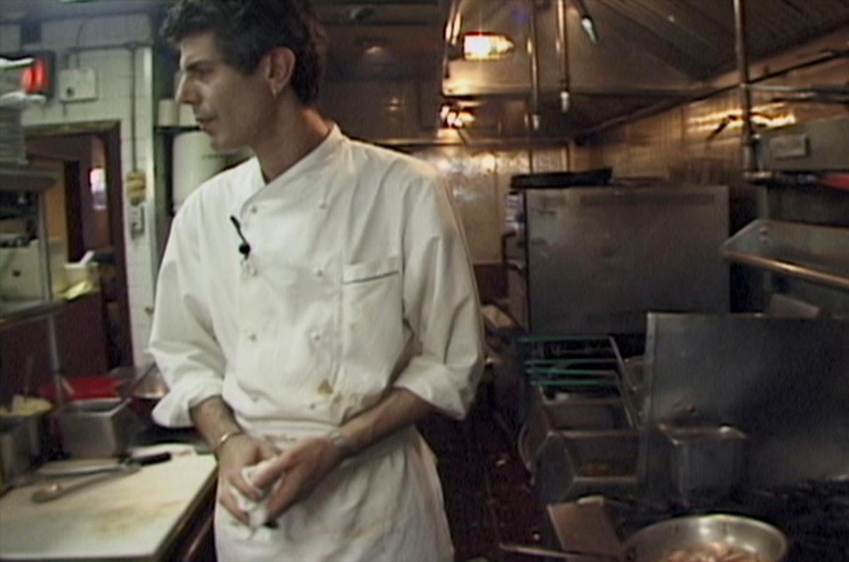 Anthony Bourdain in a kitchen