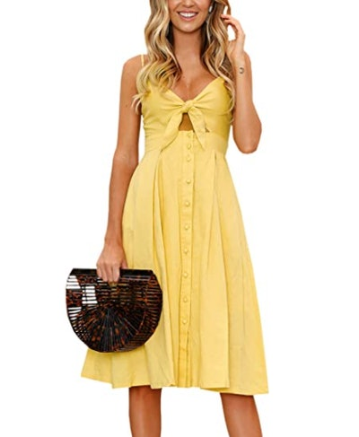 ECOWISH Front Tie Spaghetti Strap Dress