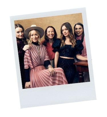 Kaitlyn Dever, Olivia Wilde, Katie Silberman, Billie Lourd, and Beanie Feldstein pose for a portrait in the 2019 SXSW Film Festival Portrait Studio.