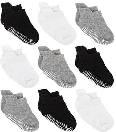 Zaples Baby Non Slip Grip Ankle Socks (9-Pack)