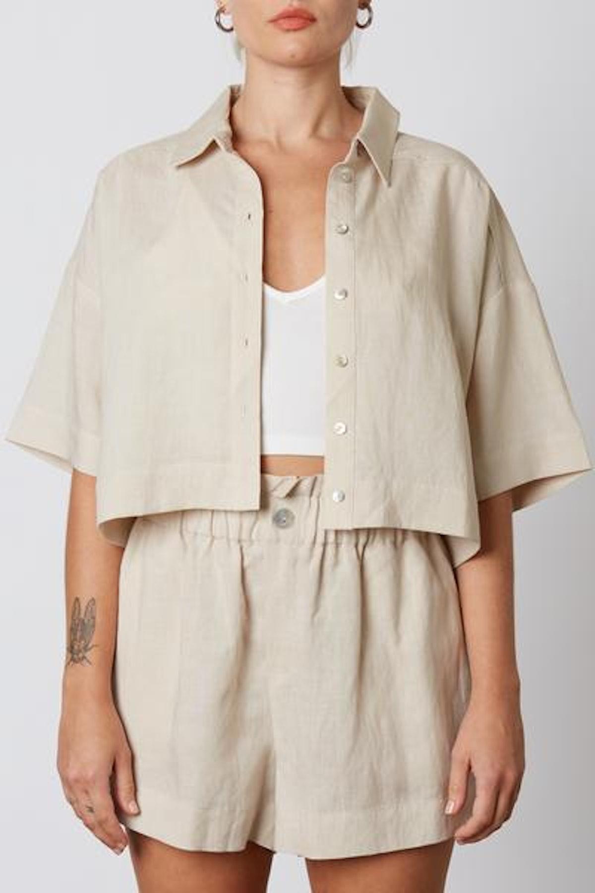 Linen Paper Bag Shorts