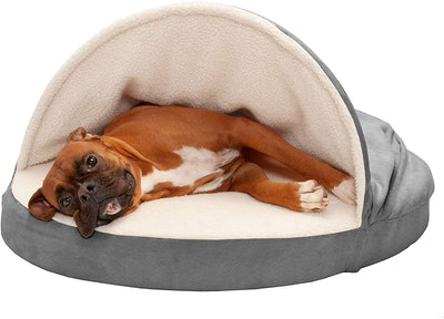 Furhaven Round Snuggery Hooded Dog Bed