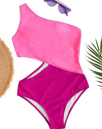 SweatyRocks Shoulder Cutout One Piece Swimsuit