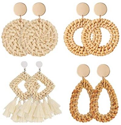 meeko Rattan Geometric Earrings (4-Pack)