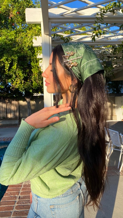Putting off washing your hair? Stylist Justine Marjan recommends a headscarf.