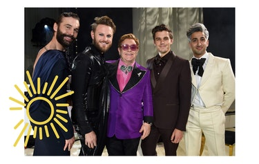 Jonathan Van Ness, Bobby Berk, Sir Elton John, Antoni Porowski, and Tan France attend the 28th Elton John AIDS Foundation Academy Awards Viewing Party in February 2020 in West Hollywood, California.