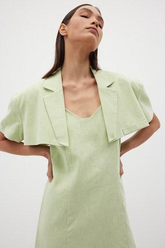 Mini Cropped Linen Blazer