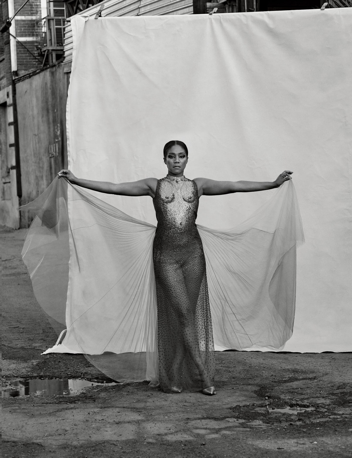 Tiffany Haddish with arms outstretched