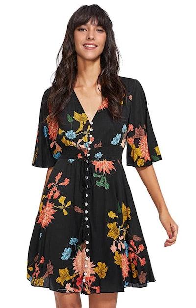 Milumia Button Up Split Floral Dress