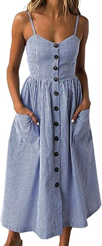Angashion Adjustable Spaghetti Strap Button Down Midi Dress With Pockets