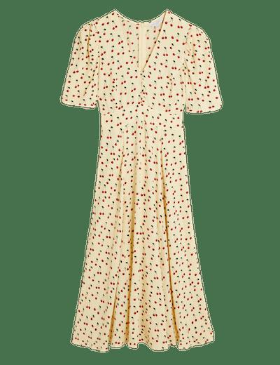 M&S X Ghost Cherry Print Button Detail Midi Tea Dress