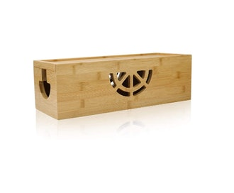 HTB Bamboo Cable Management Box with Lid
