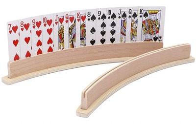Exqline Wood Curved Playing Card Holder (Set of 4)